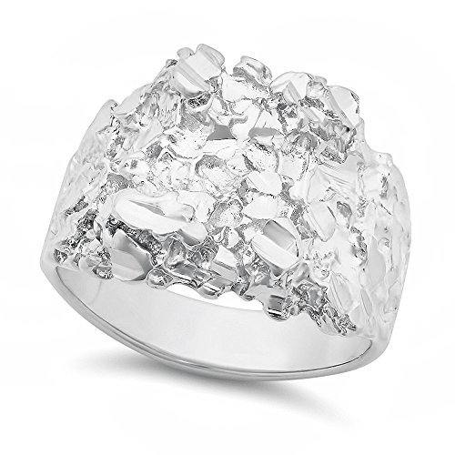 The Bling Factory Men's Rhodium Plated Chunky Nugget Ring - Size 11 + Microfiber
