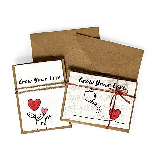 2 Biglietti Grow Your Love , Biglietto Con Semi Piantabili | Biglietto per Matrimonio, San Valentino , Festa della Mamma | Pacco da 2 Biglietti