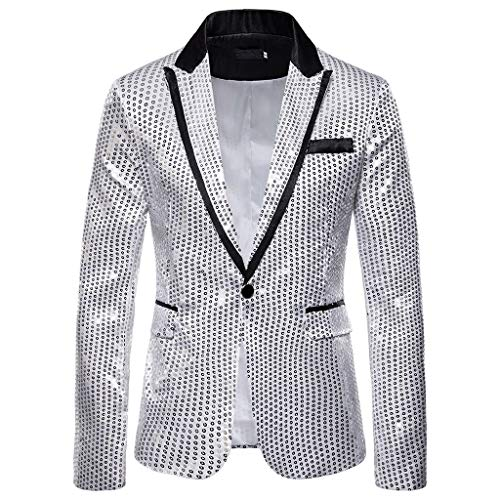 Aoogo Blazer Kostüm,Herren Casual One Button Fit Anzug Blazer Mantel Jacke Pailletten Party Top Gold Pailletten Blazer Anzüge Jacket Sakkos