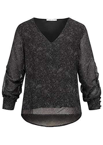 Hailys Damen leichte Chiffon V-Neck Bluse Punkte Muster 2-lagig schwarz