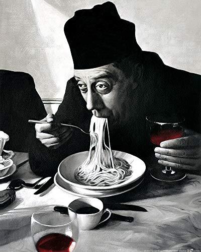 1art1 Kochkunst - Spaghetti, Rotwein, Don Camillo Poster Kunstdruck 50 x 40 cm
