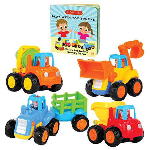 Educational Play Set for Kids Age 1, 2, 3 - Push & Pull Cars for Two Year Olds - Storybook Toys for 2 Year Old Boy -Toys for 1 Year Old - Toddler Construction Toy Trucks for 2 Yr Old Boys