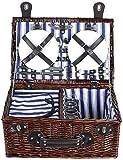 XINGDONG Bolsa de picnic para camping al aire libre para 4 personas de lujo, con compartimento más fresco duradero (color: marrón, tamaño: 46 x 31 x 20 cm)