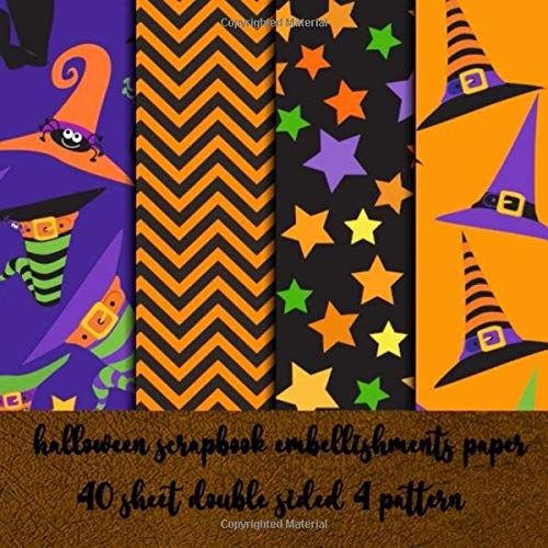 halloween scrapbook embellishments paper 40 sheets double sided  4 pattern: collection kit paper for  halloween scrapbooking - decorating - origami - decoupage - collage art - invitation