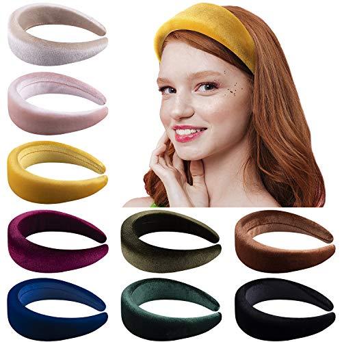 Duufin 9 Stück Haarrif Samt Gepolstert Stirnband Haarreifen für Damen, 9 Farben