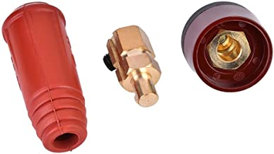 DKJ Series European Style Welding Cable Quick Connector Male Plug and Panel Socket Quick Fitting Adapter (DKJ35-50 Red)