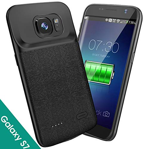 NEWDERY Samsung Galaxy S7 Battery Case, 4700mAh Slim Rechargeable Extended Charging Case, Battery Power Juice Charger Case with Micro USB Port Compatible Galaxy S7 (5.1 Inches Black)