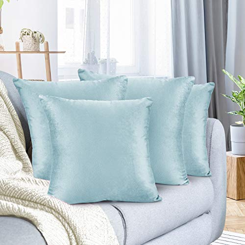 Nestl Bedding Solid Microfiber Velvet 26' x 26' Throw Pillow Cover Set of 4, Aqua Light Blue