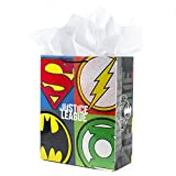 Hallmark 15' Extra Large Justice League Gift Bag with Tissue Paper (Superhero Logos) for Birthdays, Graduations, Father's Day, Christmas, Any Occasion