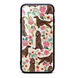 Custom Phone Case for iPhone XR Irish Setter Pet Dog Floral Flowers Rubber Frame Tempered Glass Covers Pretty Scratch-Resistant Skid-Proof Never Fade Cell Cases Fancy