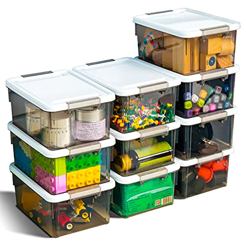 Citylife 13 QT 10 Pack Small Storage Bins Plastic Storage Container Stackable Box with Lids for Organizing Clear Grey