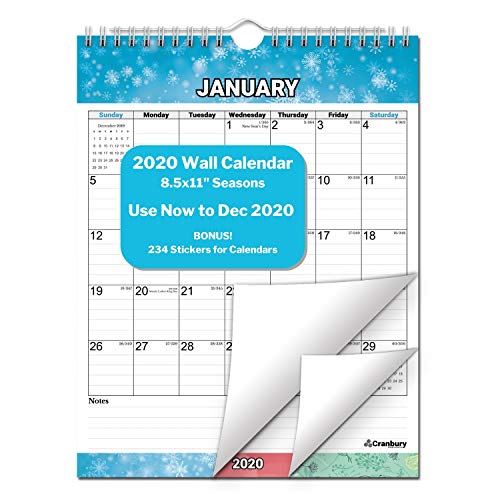 CRANBURY Small 2020 Wall Calendar - (Seasons) 8.5x11, Use to December 2020, Desk or Hanging Calendar 2020 for Wall, Vertical Wirebound Calendar with Stickers for Calenders, by Cranbury