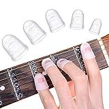 protezioni per polpastrelli in silicone per chitarra, 40 pezzi 5 protezioni antiscivolo con punta delle dita protezione per il pollice protezioni per ukulele di chitarra e altri strumenti a corda