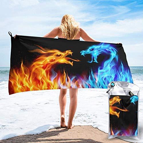 FETEAM Toallas de Playa de Secado rápido con Bolsillo, dragón de Fuego Azul Rojo Suave sin Arena, Piscina, baño, Toalla de Viaje al Aire Libre para Acampar, Deportes de Yoga