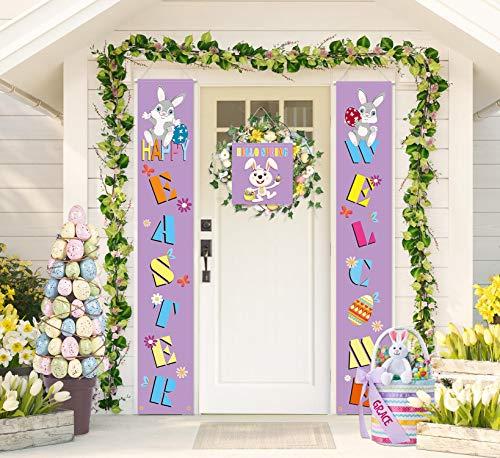"""PIXHOTUL Cartel de Pascua para decoración de porche, cartel de Pascua y pancarta de puerta con texto en inglés """"Happy Easter Welcome Bienvenida"""", para primavera, hogar, decoración interior (morado)"""