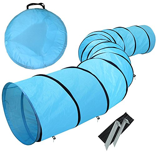 Yaheetech 18ft Pet Dog Agility Obedience Training Tunnel Blue