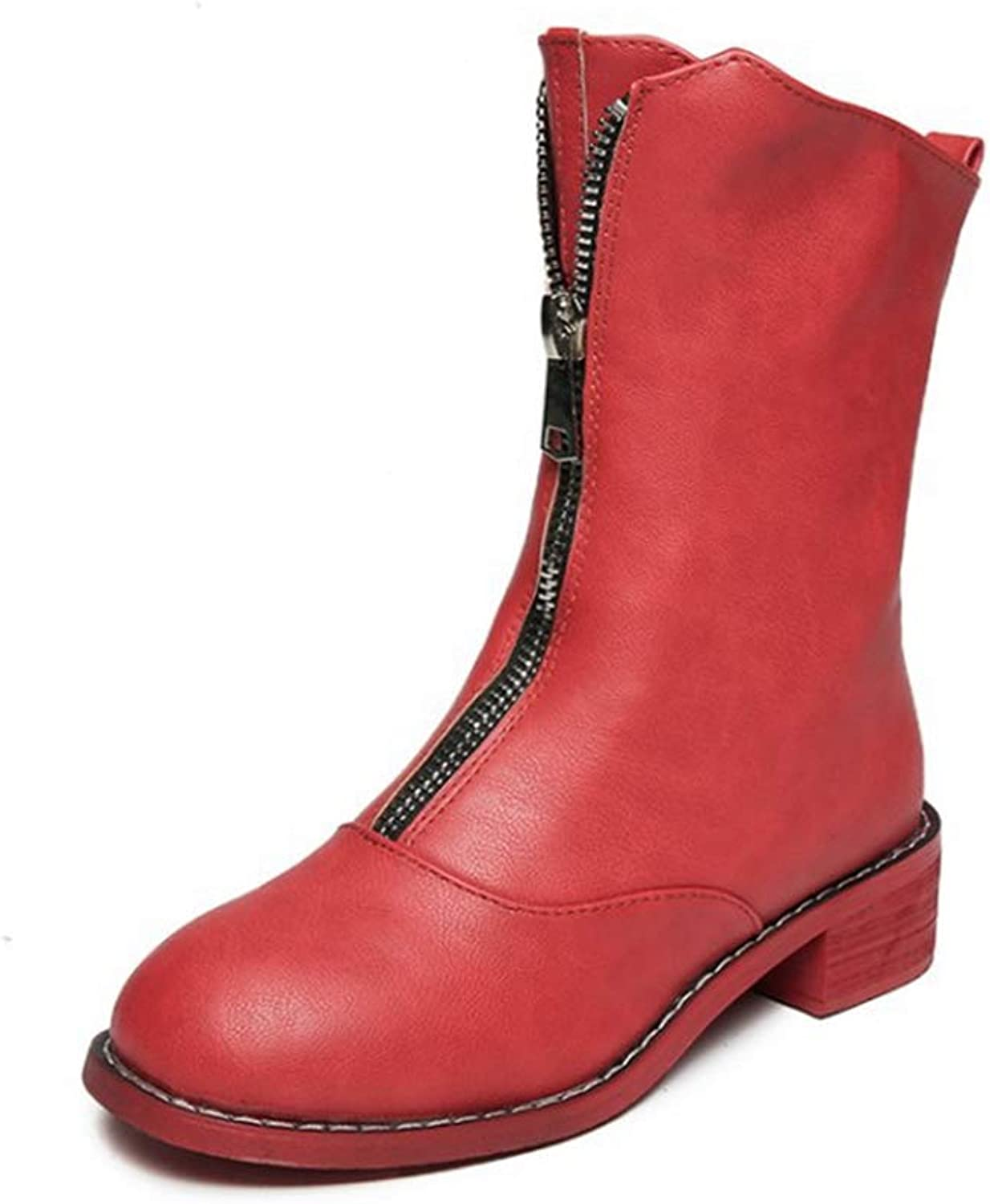 Hoxekle Woman Mid Calf Boots Front Zipper Low Square Heel Round Toe Female Sexy Casual Leisure Walking Outdoor shoes