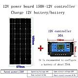 ZSPSHOP Panel Solar 50w ~ 150W Monocristal 12v Sistema De Placa De Carga Fotovoltaica para El Hogar Conjunto Completo De Paneles Solares,150W