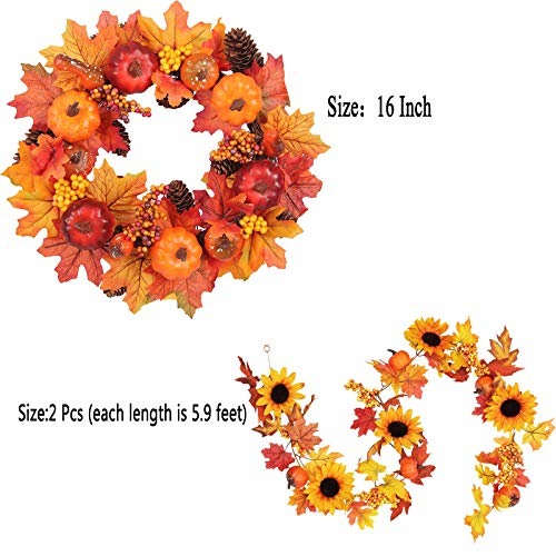 HEBE Fall Sunflower Maple Garland Autumn Hanging Leave Vines Artificial Fall Foliage Plant Garlands for Front Door Thanksgiving Harvest Fireplace Halloween Decorations