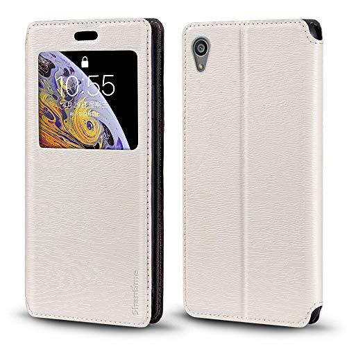 Capa para Sony Xperia Z5, capa de couro de grão de madeira com porta-cartão e janela, capa flip magnética para Sony Xperia Z5
