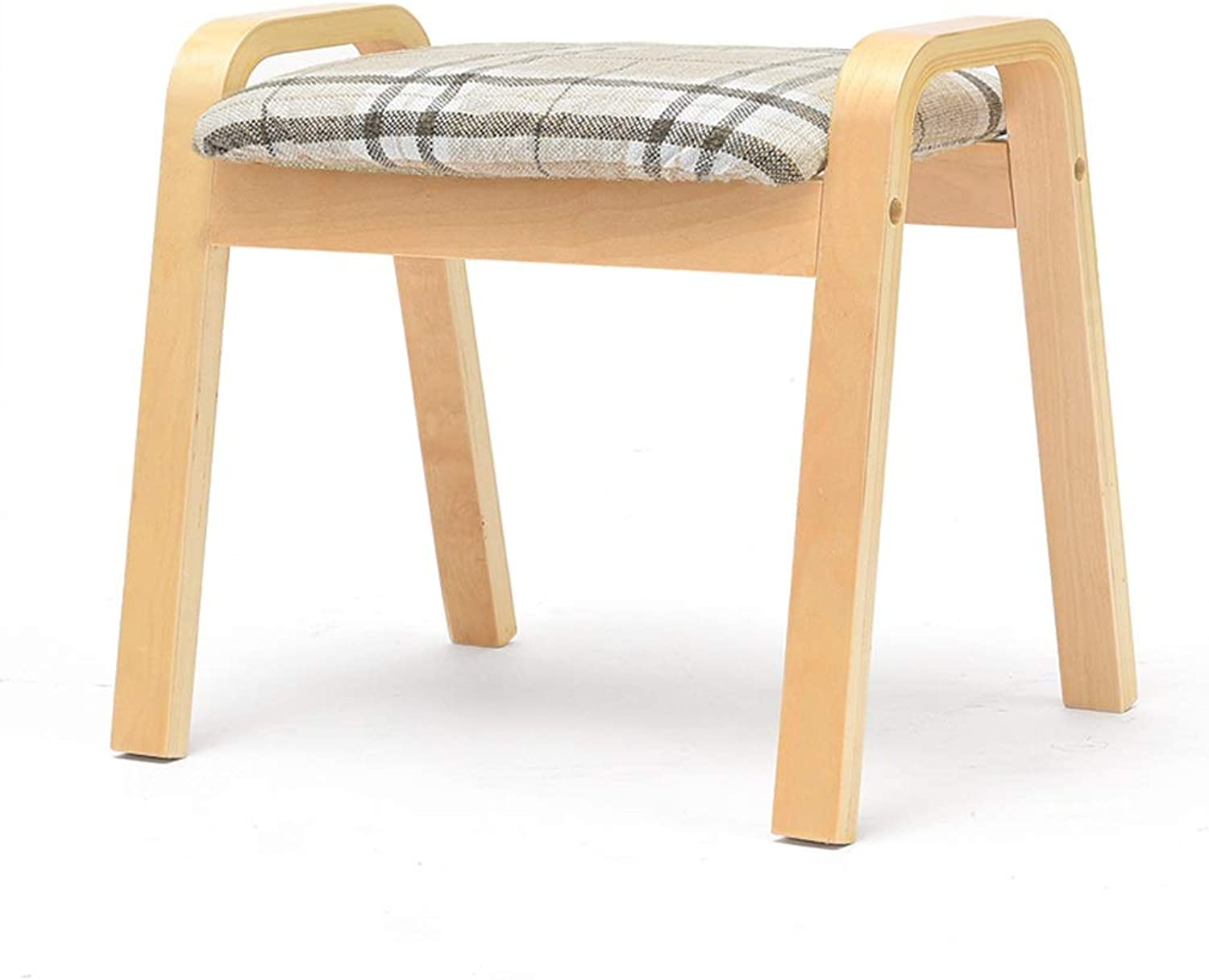 CQ Stripe Home Stool Creative Stool Living Room Adult Solid Wood Bench Fabric Stool Sofa Change shoes Bench