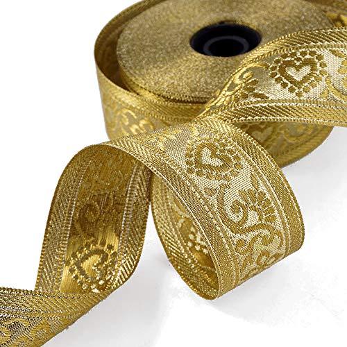Ribbon 18-Yards 1-1/2' (38mm) Metallic Jacquard Trim, SMB-077 (Gold)