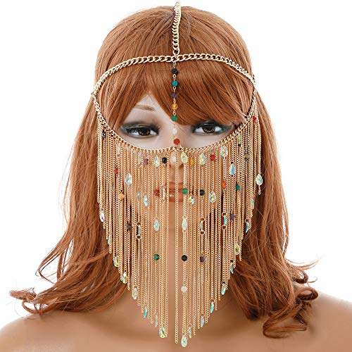 Hoofd Gezicht Legering Ketting Masker, Cosplay Kostuum Hoofddeksels Masker Gouden Ketting voor Vrouwen