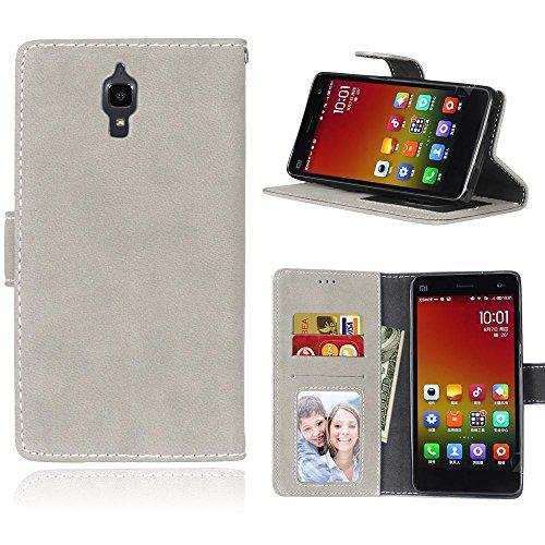 FUBAODA für Xiaomi Mi4 hülle,für Xiaomi Mi4 Leder Brieftasche Hülle Case Flip Cover,[Hautfreundlich][Wildleder] Flip Cover Hüllen Schutzhülle PU Kartenfächer für Xiaomi Mi4(Grau)