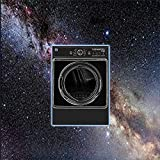 Clothes Dryer with no Buttons Next to a Washing Machine on Spin Cycle
