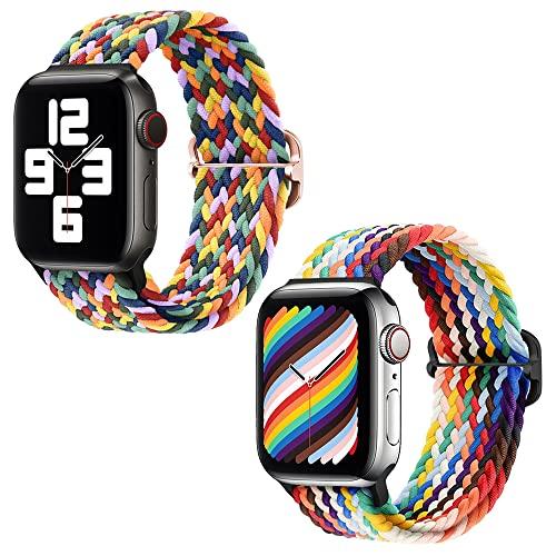 LUEROD 2 unidades de correa de reloj tejida Replcement compatible con Apple Watch Iwatch Series 6/5/4/3/2/1 correa de reloj tejida 38MM/40MM/41MM para hombres y mujeres