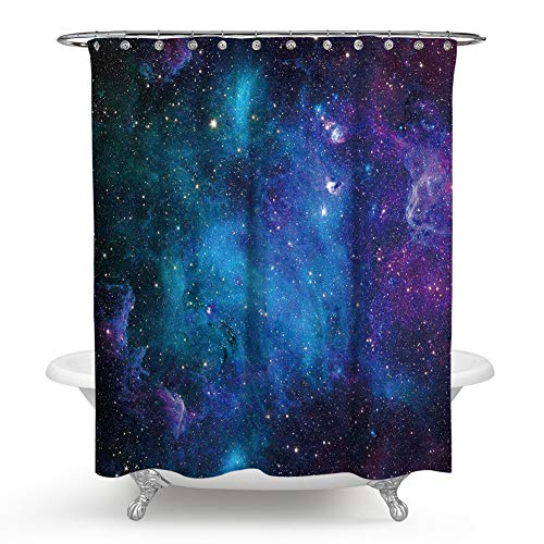 Galaxy Shower Curtain Set Starry Night Nebula Cloud in Galaxy Theme Image Space Decorations Print Fabric Bathroom Decor with Hooks (71X71 inches)