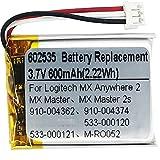 3,7V 600 mAh 602535 para Logitech MX Master 2 MX Master 3 MX Master 2s MX Anywhere 2 MX Anywhere 2S MX Ergo M-RO052 Wireless Mouse 910-004362 910-004374 533-000120 533-000121