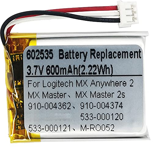 DC 3.7V 600mAh 602535 Battery Replacement for Logitech MX Master 2 MX Master 3 MX Master 2s MX Anywhere 2 MX Anywhere 2S MX Ergo M-RO052 Wireless Mouse 910-004362 910-004374 533-000120 533-000121
