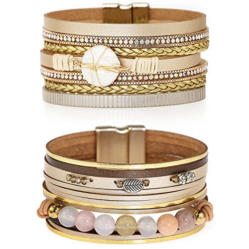 Suyi Mehrschichtiges Lederarmband-Set 2 Stück Perlen Wickelarmband Armbänder Mit Handgelenksmanschette Und Magnetschnalle Für Frauen Bead