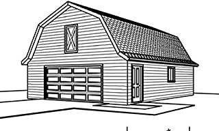 Barn Style Roof Garage Plans - 28' by 32' - Two Car , Single Story with Storage Loft