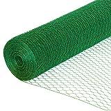 EXCOLO Sechseckdraht grün Volieren Draht Hasendraht Drahtzaun Kaninchendraht Maschendraht verzinkt und grün beschichtet (Höhe 50cm, Länge 25m, Weite 13mm)
