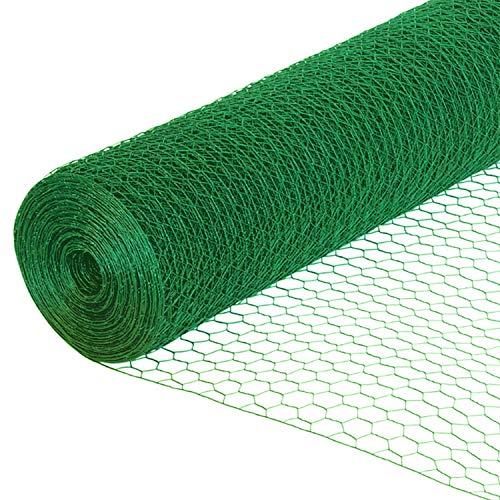 EXCOLO Sechseckdraht grün Volieren Draht Hasendraht Drahtzaun Kaninchendraht Maschendraht verzinkt und grün beschichtet (Höhe 50cm, Länge 25m, Weite 25mm)