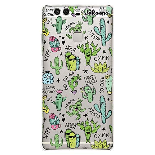 dakanna Funda Compatible con [Huawei P9 Plus] de Silicona Flexible, Dibujo Diseño [Pattern Divertido de Cactus y Frases], Color [Fondo Transparente] Carcasa Case Cover de Gel TPU para Smartphone