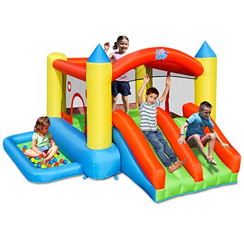 ACTION AIR Bounce House, Double Slides Bounce House with Blower, with 30 Pit Balls Pool, Inflatable Bounce House for Kids, Durable Sewn with Extra Thick Material, Easy to Set Up for Hours of Fun(9249)