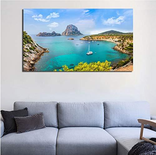 QINGRENJIE Ibiza Island Landschaft Wandkunst Leinwand Poster und Druck Leinwand Malerei dekorative Bild Moderne Wohnzimmer Home Decoration 50 * 80 cm ohne Rahmen
