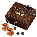 Murrano Set di Pietre da Whisky - in un cofanetto con incisione personalizzata - 8 cubetti di ghiaccio + 2 bicchieri - riutilizzabili - in granito - idea regalo per lui - papiIIon