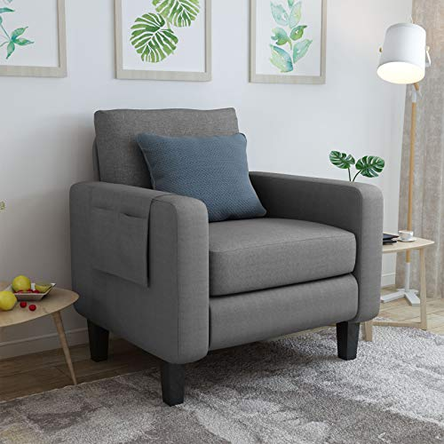 Mecor Accent Armchair Upholstered Single Sofa Chair with Thick Padded Back Cushion Modern Comfy Fabric Side Chair for Living Room Bedroom Office