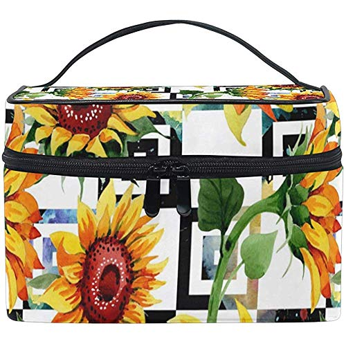 Cosmetic Bag, Wildflower Sunflower Travel Makeup Organizer Bag Cosmetic Case Portable Train Case