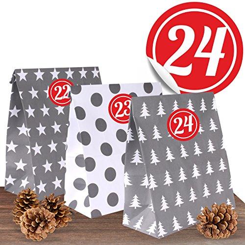"""Adventino Adventskalender mit 24 XL Papiertüten """"Winterzeit"""" im weihnachtlichen Design-Mix"""