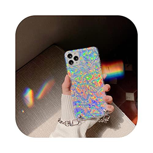 Lujo Láser Plegado Hoja De Estaño Plata Cadena De Oro Pulsera Teléfono Caso Para Iphone 11 12 Mini Pro X XR XS Max 7 8 Plus Sexy Suave Cove-2-Para iPhone Se2020