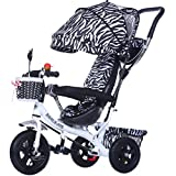 BZEI-BIKE Multifuncional 4-en-1 Niño Triciclo Kid Trolley Empuje Stoller Bicicleta con toldo Plegable Anti-UV | para 1-3-6 Años de Edad, Niño y Niña bebé de Juguete