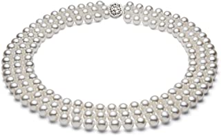 """Triple Strand White Freshwater Cultured Pearl Necklace for Women AAAA Quality Sterling Silver 18"""" - PremiumPearl"""