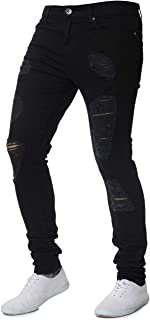 Men's Casual Slim Fit Denim Jeans Ripped Skinny Distressed Destroyed Side Striped Zipper Holes Pants Jeans