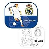 ARDITEX RM13736 Protectores De Sol para Ventanas - 2 Unidades - Incluye póster para Pintar de Clubs-Real Madrid CF