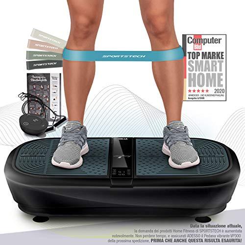 Sportstech 3D Pedana Vibrante VP300 | Brucia grassi + 5 Fasce Fitness incluse | Ampia superficie + 2x1000W max potenza motori + Bluetooth Music + Telecomando & Poster | Allenamento a casa